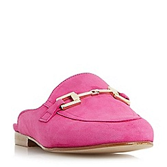 Dune - Pink 'Gole' metal saddle trim backless loafers shoes