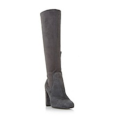 Dune - Grey 'Serein' knee high heeled stretchy boots