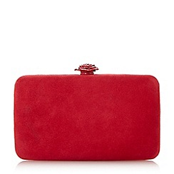 Dune - Red 'Bloved' rose clasp clutch bag