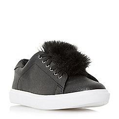 Head Over Heels by Dune - Black 'Edna' pom pom lace up trainers