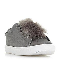 Head Over Heels by Dune - Silver 'Edna' pom pom lace up trainers