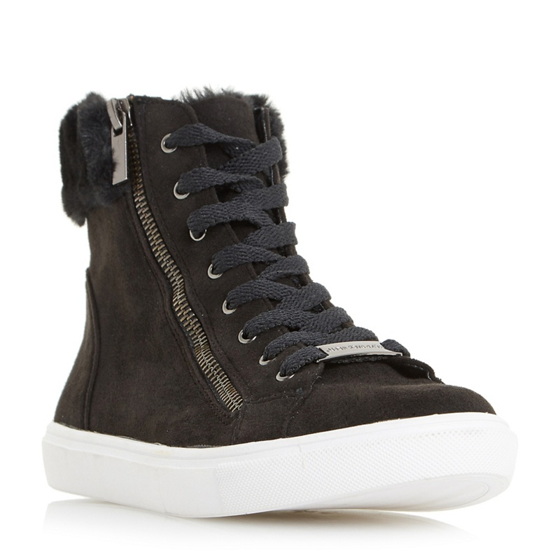 0872cfab1d4 Head Over Heels by Dune - Black  Everley  Faux Fur Trim Lace Up High Top  Trainers - Female First Shopping