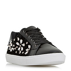 Head Over Heels by Dune - Black 'Eiida' jewel embellished lace up trainers