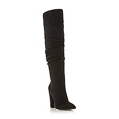Head Over Heels by Dune - Black 'Sesily' ruched heeled over the knee boots