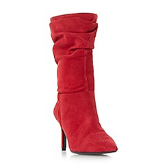 Dune - Red 'Reenie' point toe ruched calf boots