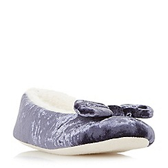 Head Over Heels by Dune - Navy 'Fayee' faux fur bow slippers