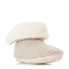 Head Over Heels by Dune - Light pink 'Fliss' chunky knit bootsie slippers