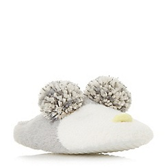 Head Over Heels by Dune - Multicoloured 'Fraan' owl pom pom slippers