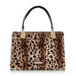 Dune - Multicoloured 'Durby' faux fur medium framed handbag