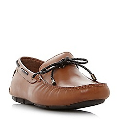 Dune - Tan 'Barneys' plait lace up driver loafers