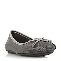 Dune - Silver 'Hype' bow and coin trim unlined ballerina shoes