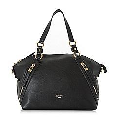 Dune - Black 'Donald' large twin zip slouch bag
