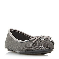 Dune - Silver 'W hype' wide fit bow and coin trim ballerina shoes