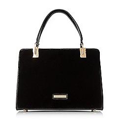 Dune - Black 'Durby' faux fur medium framed handbag