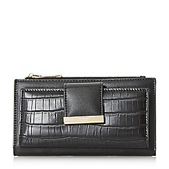 Dune - Black 'Kira' metal trim croc purse