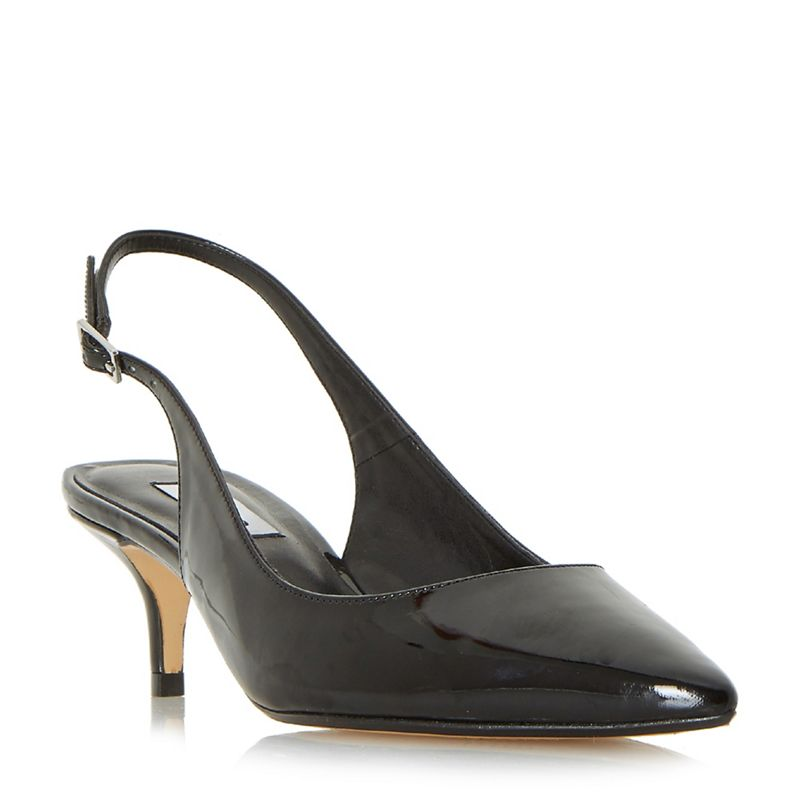 Dune Black casandra kitten heel slingback court shoes