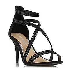 Head Over Heels by Dune - Black 'Miley' gem studded cross strap sandals