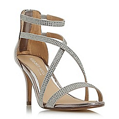 Head Over Heels by Dune - Silver 'Miley' gem studded cross strap sandals