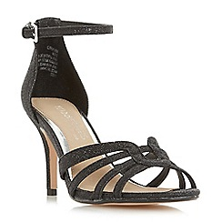 Head Over Heels by Dune - Black glitter 'Munro' ankle strap sandals