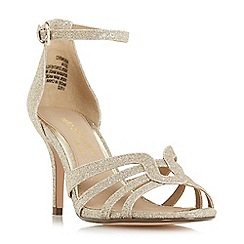 Head Over Heels by Dune - Gold glitter 'Munro' ankle strap sandals