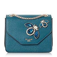 Dune - Mid blue 'Elady' jewel embellished flap over bag