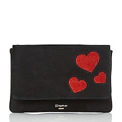 Dune - Black 'Beautiee' heart cutout foldover clutch bag