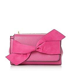 Dune - Pink 'elloie' bow trim clutch bag
