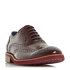 Dune - Maroon 'Preppy' punch hole wingtip  low block heel brogues