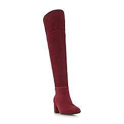 Dune - Maroon suede 'Spears' block heel knee high boots