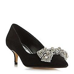 Dune - Black 'Bowpeep' dimante bow trim kitten heel court shoes