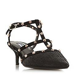 Dune - Black 'Casterly' studded strap kitten heel shoes