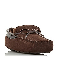 Dune - Brown 'Freeze' warm lined driver moccasin slippers