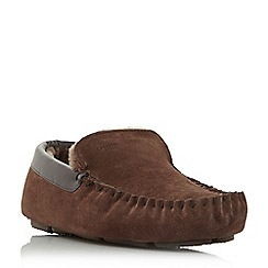 Dune - Brown 'Firefly' shearling lined loafer slippers