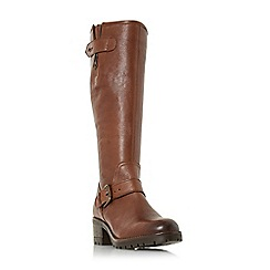 Dune - Brown leather 'Tilburn' block heel knee high boots