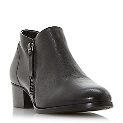 Dune - Black leather 'Padington' block heel ankle boots