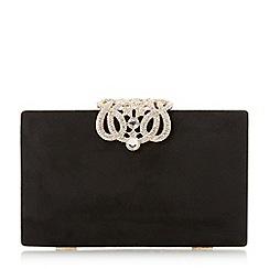 Dune - Black 'eterrnal' embellished clasp rectangular clutch bag