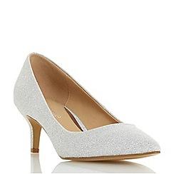 Head Over Heels by Dune - Silver 'Annabel' kitten heel court shoes