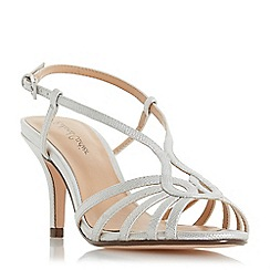 Roland Cartier - Silver 'Millah' mid stiletto heel ankle strap sandals
