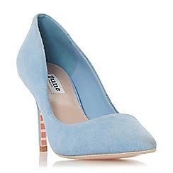 Dune - Blue leather 'Aurrora' mid stiletto heel court shoes