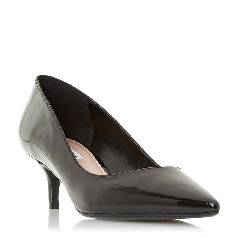 Dune Black patent Alesandra mid kitten heel court shoes