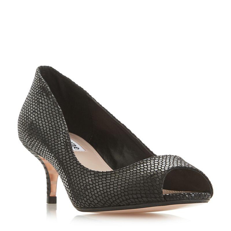 Dune - Black Cherrie Mid Kitten Heel Court Shoes