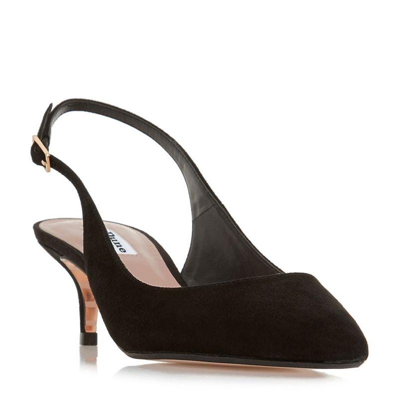 Dune - Black Suede Casandra Mid Kitten Heel Court Shoes