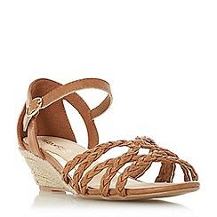 Head Over Heels by Dune - Tan 'Kourt' mid wedge heel peep toe sandals