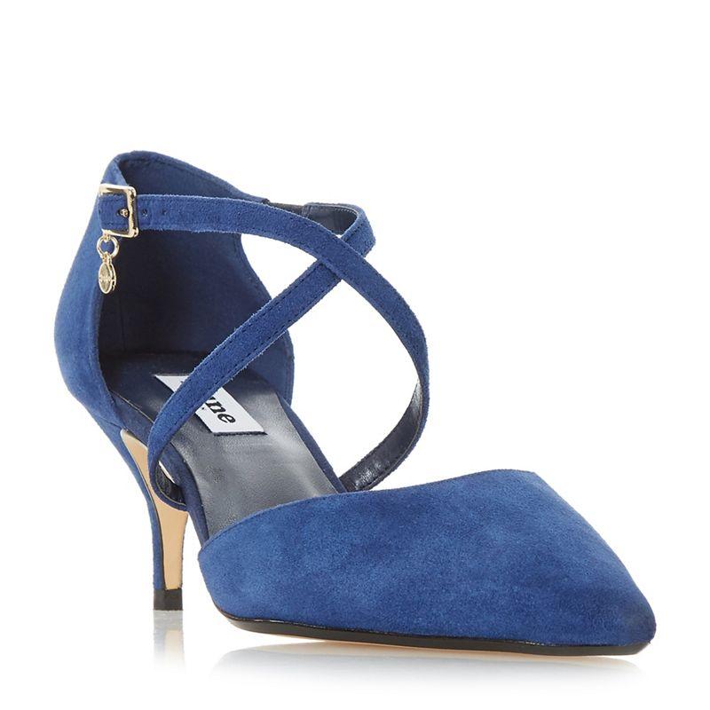 Dune Blue suede Courtnee kitten heel court shoes