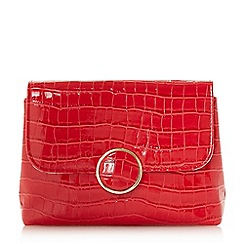 Dune - Red 'Bayer' croc foldover clutch