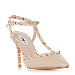 Dune - Natural leather 'Catelyn' mid stiletto heel court shoes