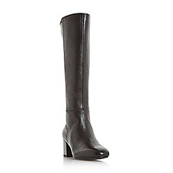 Dune - Black leather 'Salza' mid block heel knee high boots