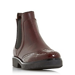 Dune - Maroon leather 'quark' ankle boots