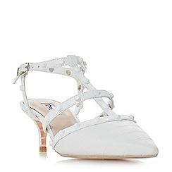 Dune - White 'Casterly' mid kitten heel court shoes