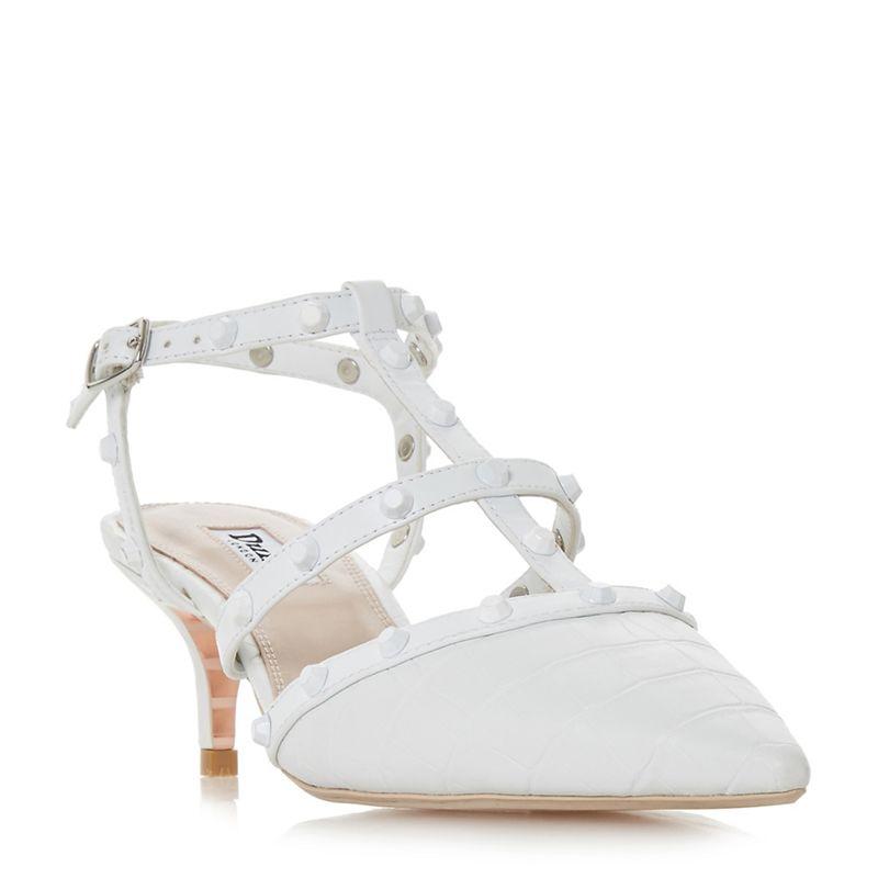 Dune White Casterly mid kitten heel court shoes